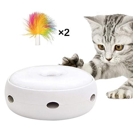 OurLeeme Juguetes interactivos para Gatos, Juguete Giratorio automático para Plumas, Juguete para Gatos,
