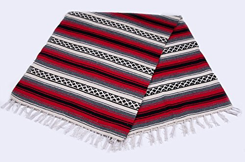 Mission Del Rey Old Mexican Style Woven Blanket with Traditional Designs & Colors for beds, Yoga, Pic Nic, Beach, Travel and Rustic Home Decor (Red) Review
