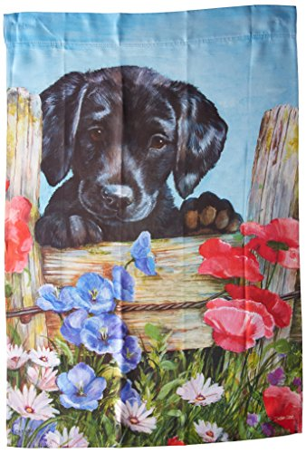 Carson Home Accents Outdoor Flag, Black Lab Puppy, (Black Lab Flag)