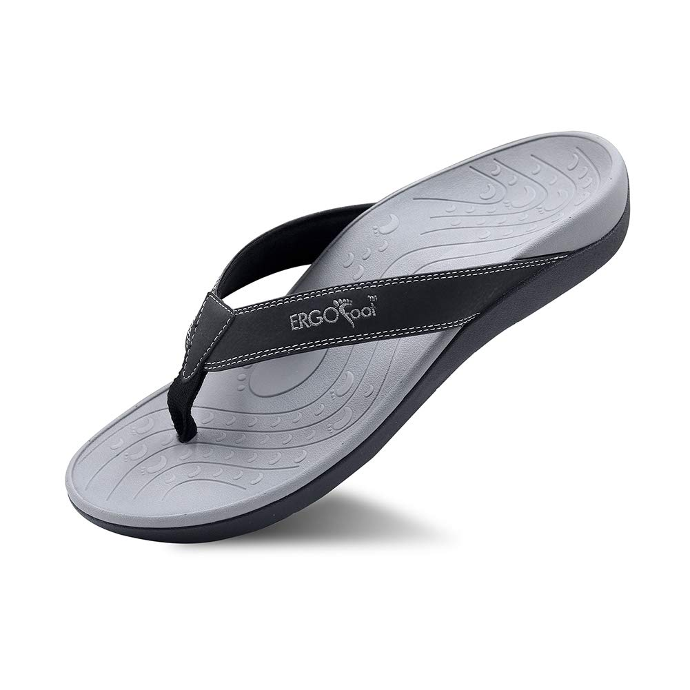 ERGOfoot Orthotic Flip Flops Stylish Thong Sandals Ultra Comfort Slippers for Women & Men with Arch Support-Walking Comfort for Flat Feet & Heel Spur
