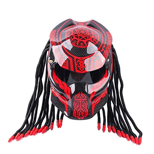 DYM258 Jagged Warrior Predator Motorcycle Helmet D.O.T Certified Full Face Flip Open Mask Carbon Fiber Anti-Fog Fringed Braids Helmet LED Light,BlackRed1#,S55~56CM