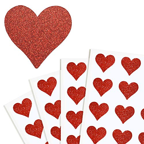 - Red Heart Stickers Labels with Glitter Finish Perfect for Packaging and Sealing Party Favors, Bags and Gift Boxes 1.5