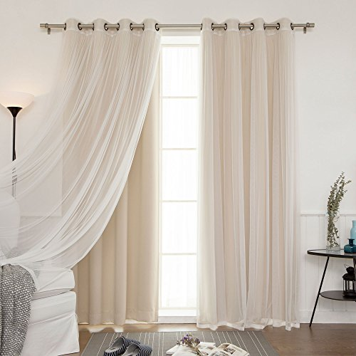 Best Home Fashion Mix & Match Tulle Sheer Lace & Blackout Curtain Set - Antique Bronze Grommet Top - Beige - 52