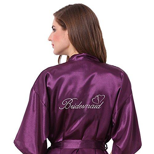 Joytton Women's Satin Kimono Robe with Embroidered Bridesmaid Dark Purple XXL
