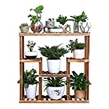 Foxi Multi-tier solid wood flower racks,Balcony staircase plant stand pot rack floor environmental Safe for outdoor Indoor Living room-A