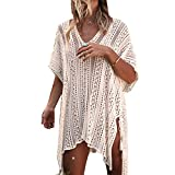 Colorful House Women Tunic Bohemia Beach Bathing Suit Swimwear Cover Up Dresses (Off-white)