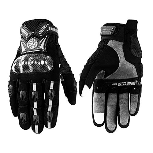 - Motorcycle Riding Gloves Men Winter Waterproof Warm Four Seasons Locomotive Racing Knight Off-Road Drop-Proof Summer Full Finger (Color : Black, Size : M)