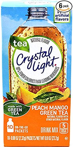 Crystal Light On The Go Peach Mango Green Tea Drink Mix, 10-Packet Box (Pack of ()