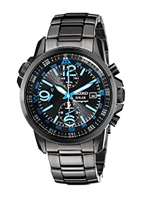 Seiko Men's SSC079 Adventure-Solar Black Stainless Steel Solar-Power Watch