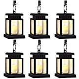 Garden Solar Lights,Flickering Flameless Smokeless Candle Lantern,Decoration for Garden Patio Deck Yard Fence Driveway Lawn - 6 Pack