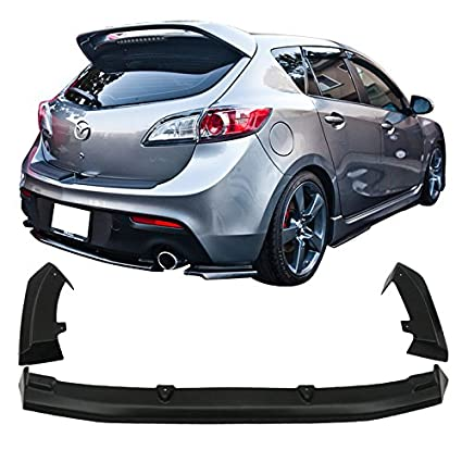 Rear Lip Fit For 2010 2013 Mazda 3 Hatchback 5Dr | 3 Piece Style Unpainted