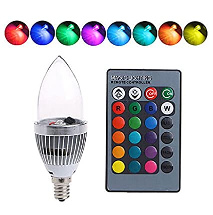 Bombilla Inteligente de Luz Multicolor E14 3W, RGB Led Colores Cambiantes Lámpara Bombillas de Color