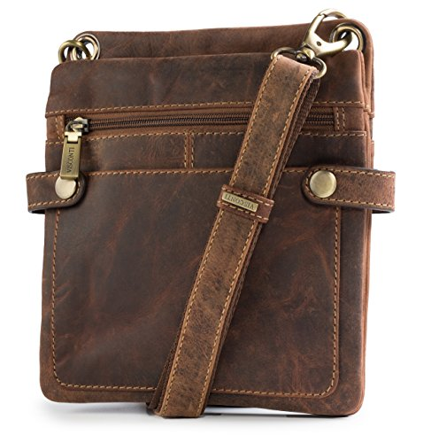 Visconti Distressed Leather Fashion Slim Cross-Body Messenger Bag, Oil Tan