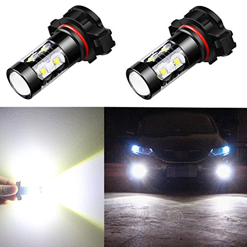 Alla Lighting 5201 5202 LED Fog Light Bulbs Super Bright 5201 5202 LED Bulb High Power 50W 12V LED 5202 Bulb for PS19W 12085 5202 Fog Light Bulbs Replacement, 6000K Xenon White (Set of 2)