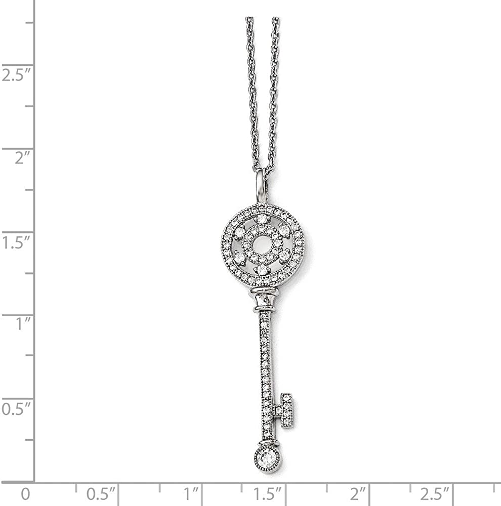 Brilliant Embers Polished Key Necklace 18 Length 925 Sterling Silver With Rhodium-Plated CZ Cubic Zirconia