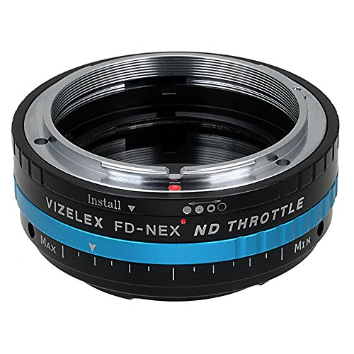 Vizelex ND Throttle Fotodiox Pro Lens Adapter, Canon FD Lens to Sony E-Mount Camera w/ Built-In Variable ND Filter ND2-ND1000 - Throttle Stop