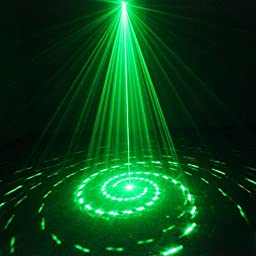 NEW SUNY Laser Light Red Green 12 Pattern Gobos Show Party Decorative Indoor Lighting Blue Stars Mixing Effect Wireless Remote Professional Projector Sound Active for DJ Home (Z12RG)