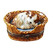 DREAMING DOG IN BASKET - LIMOGES PORCELAIN FIGURINE BOXES AUTHENTIC IMPORTS