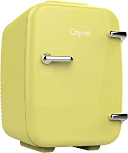 CAYNEL Mini Fridge Cooler and Warmer, (4Liter / 6Can) Portable Compact Personal Fridge, AC/DC Thermoelectric System, 100% Freon-Free Eco Friendly for Home, Office and Car (Light yellow)