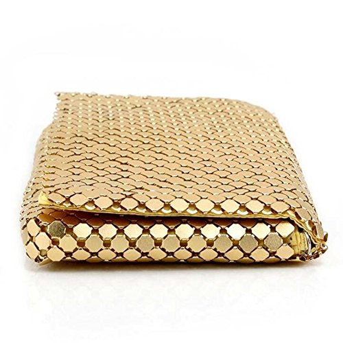 Gold Clutch Bride Metal Aluminum Wedding Purse Women Envelope Prom Mesh Handbags Bags For EPLAZA Evening Party 1ZwX8