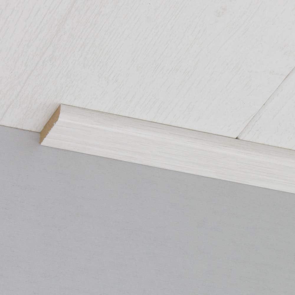 Abdeckleiste Abschlussleiste Sockelleiste Rundprofil aus MDF in Allure Wei/ß 2600 x 6 x 25 mm