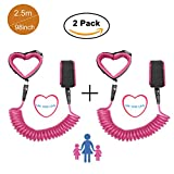 Baby Anti lost Wrist Link 2 Packs 98 inch Toddlers Safety Harness Leash Child Tether Hook Loop Band Kids Straps Rope for Children Babies with Parents by Elekmall (2.5m, 2 Packs Pink)