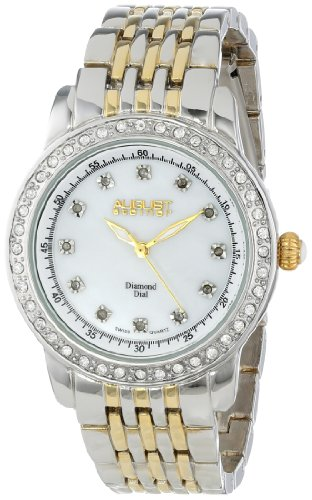 August Steiner Women's AS8045TTG Diamond and Crystal Swiss Quartz Bracelet Watch
