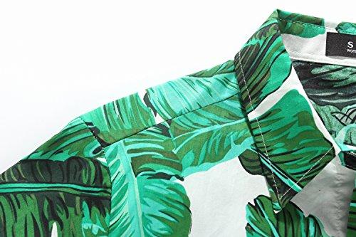 SSLR Camisa Hawaiana Aloha Manga Corta Palmera Hoja para Mujer Verde