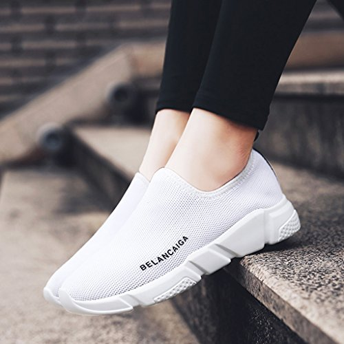 chaussures HWF maille Les courent 35 simples ressort femelle femme Chaussures plates de sport Gris de Blanc femmes respirant simples les de de de Couleur chaussures taille rtqpzrwfE