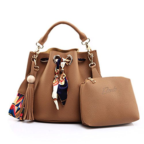 (Beautyfronta Women Bag Tassel Handbag Small Composite Crossbody Bag Top-Handle Messenger Bag khaki)
