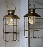 Set of 2 Solar Antique Edison-Style Bronze Metal Lanterns with Crackled Glass for Hanging or Tabletop 6 L x 6 W x 10 H