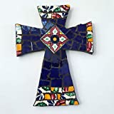 Mexican Tile Talavera Handcrafted Mosaic Blue with Multi colored Ceramic tile