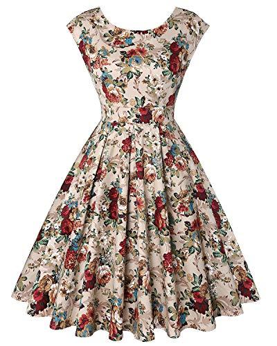 (MINTLIMIT Retro 1950s Cocktail Dresses Vintage Swing Dress Sleeveless(Floral Apricot,Size L))