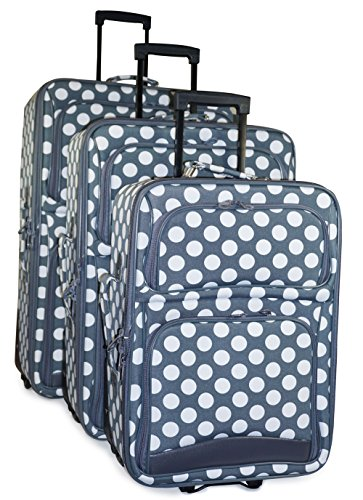 Ever Moda Polka Dot Luggage Set (Polka Dot - Grey White) (Rolling Luggage White Polka Dot)