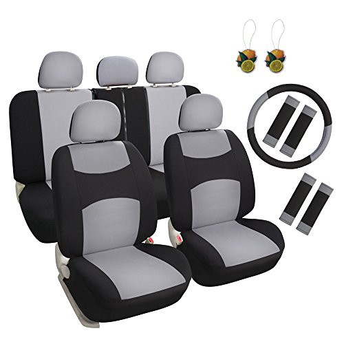 Leader Accessories Sports Fabric Cloth 17pcs Auto Car Seat Covers Universal Fit Full Set with Airbag & Gray/Black