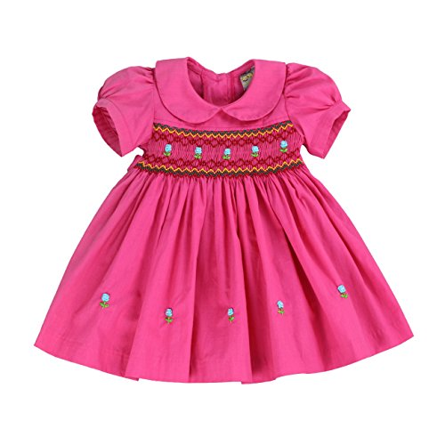 sissymini SISSYMINIi- Infants and Toddlers Hand Smocked Dress Sweet Spring In Hot Pink 3T (Spring Dress Bloomers)