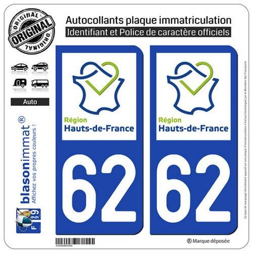 blasonimmat 2 Autocollants plaque immatriculation Auto 62 Hauts-de-France - LogoType