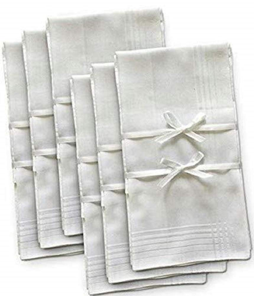 Brooklyn Bamboo Men's Organic Handkerchief | Extremely Soft & Absorbent Hankie | Assorted 6 Piece Woven Set | Durable & Hypoallergenic | 17 x 17 Inches | White