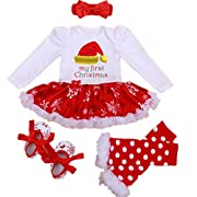 WINMI® Baby Girls Newborn 1st Christmas Tutu Onesie Outfit Party Dress Sets 4PCs (S)