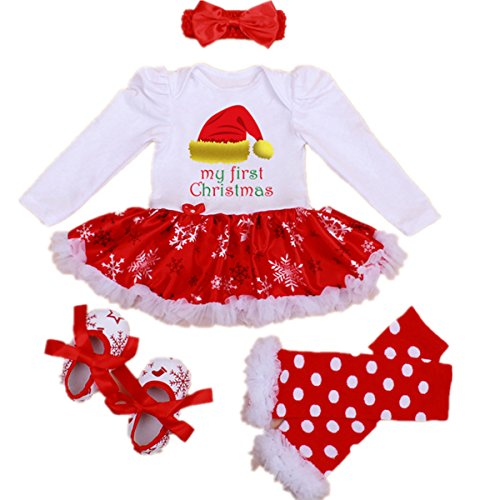 [WINMI® Baby Girls Newborn 1st Christmas Tutu Onesie Outfit Party Dress Sets 4PCs (S)] (Christmas Fancy Dress Baby)