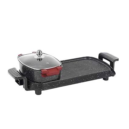 L&Y Interior La Parrilla Eléctrica BBQ Y Hot Pot Tablero Parrilla Y Fondue con Revestimiento De