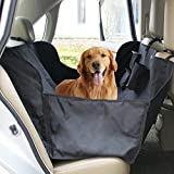 Ondoing Pet Seat Cover Dog Car Back Protector Adjustable Bench Hammock Style with Seat Belt NonSlip Flaps Waterproof Washable Pet Barrier for Vehicle Trunk Jeep Cars SUV, Black