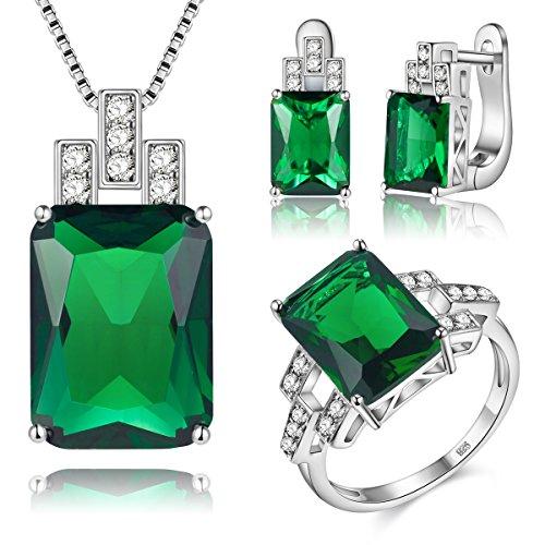 J.MOSUYA 925 Sterling Silver Plated Jewelry Set For Women, Swarovski Element Crystal Earring Necklace Set Emerald, Size 6