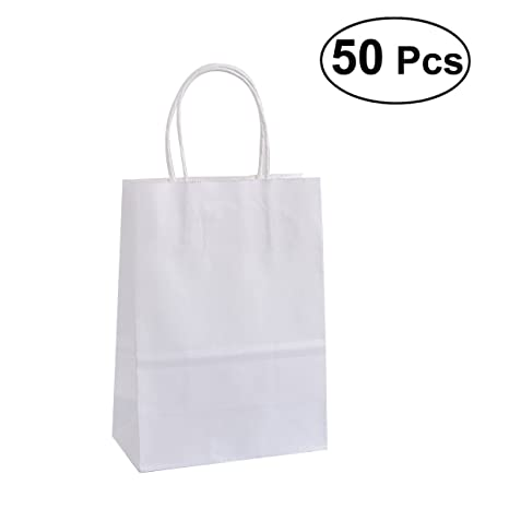 Amazon.com: NUOLUX 50Pcs Kraft Paper Bags with Handle Candy ...