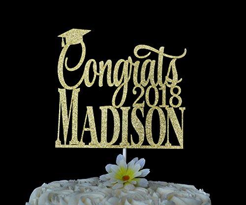 Graduation Glitter Cake Topper Personalized Congrats Cake Topper Congratulations Class of 2018 2018 Grad Graduation Party Decor by Dikoum