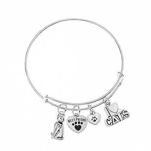 a4b3e9abc Cat Bracelet, Cat Jewelry, Kitty Cat Charm Bracelet, Paw Bracelet- Pet  Jewelry
