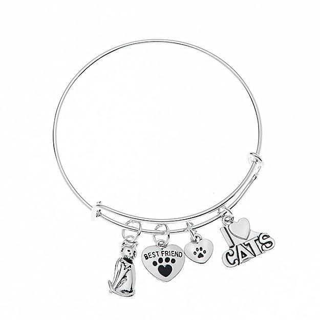Amazon Com Cat Bracelet Cat Jewelry Kitty Cat Charm Bracelet Paw