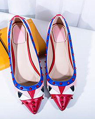 Fashion Monster European Red Flat Pointed Womens Cartoon Style Maybest Autumn Toe Shoes Shoes Pattern fpqpEAwv