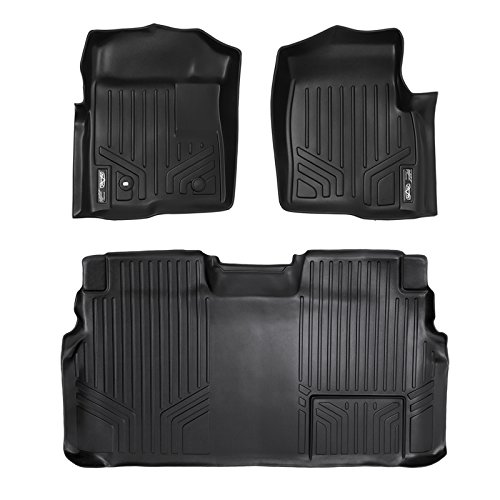 SMARTLINER Floor Mats 2 Row Liner Set Black for 2009-2010 Ford F-150 SuperCrew Cab