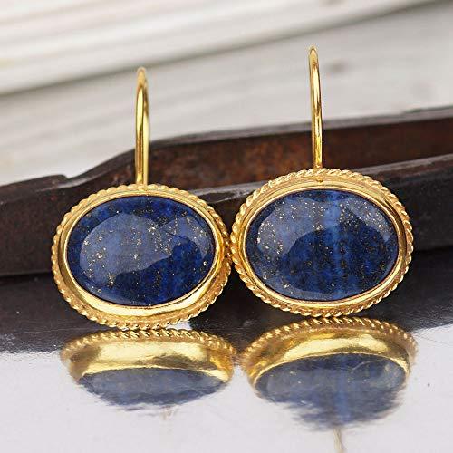 - 925k Silver Large Lapis Dangle Earrings Desing By Omer Roman Art Handmade Turkish Jewelry